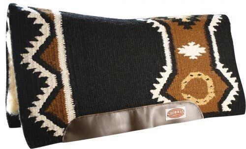 Showman 36  X 34  negro de lana Top contorneada Western almohadilla para silla Memoria Fieltro Centro