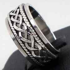 925 Sterling Silver Signs & Symbols Celtic Spinner Ring Size 8 Solid Hallmar New