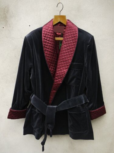 Mens Quilted Velvet Smoking Jacket Robe de Chambre Dressing Gown Evening Coat