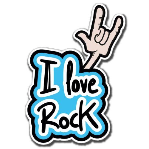 2 x I Love Rock Guitar Vinyl Sticker Laptop Travel Luggage #4054