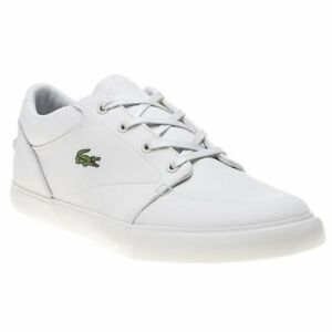 4461317dd130 Image is loading New-MENS-LACOSTE-WHITE-NATURAL-BAYLISS-TEXTILE-Sneakers-