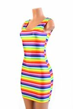 SMALL Rainbow Stripe Spandex Bodycon Tank Gay Pride Dress NWT Ready To Ship!