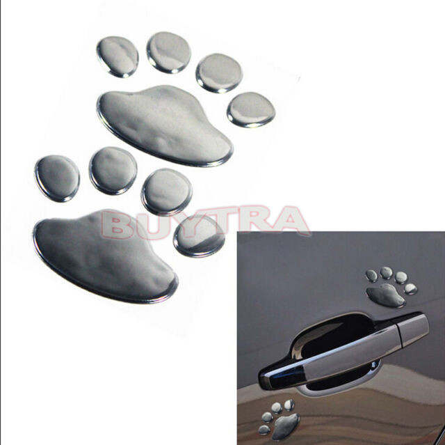 2 Pcs Paw Pet Footprints Emblem Car Truck Decor 3D Sticker Decal TSCA