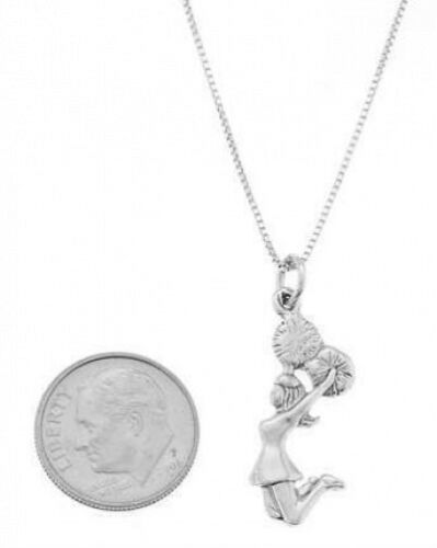 STERLING SILVER JUMPING CHEERLEADER CHARM WITH BOX CHAIN NECKLACE