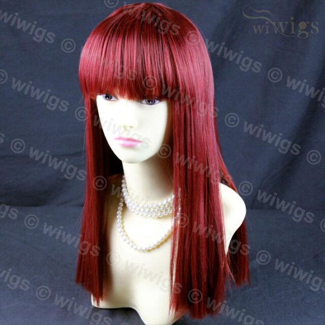 Sexy Heat Resistant Burgundy mix Red Long Ladies Wigs Skin top BANGS Wig  WIwigs