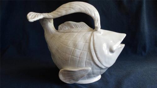 Blue Sky Clayworks Diane Koi Fish Tea Pot White New