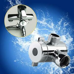3Way-Badezimmer-Chrome-Umsteller-T-Adapter-Ventil-Fuer-Brausearm-Mounted-2019s