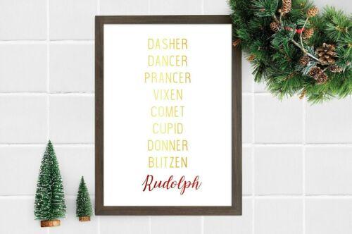 Details about  /A4 A5 Reindeer Names Foil Print Christmas Home Decor Keepsake Xmas Gift Wall Art