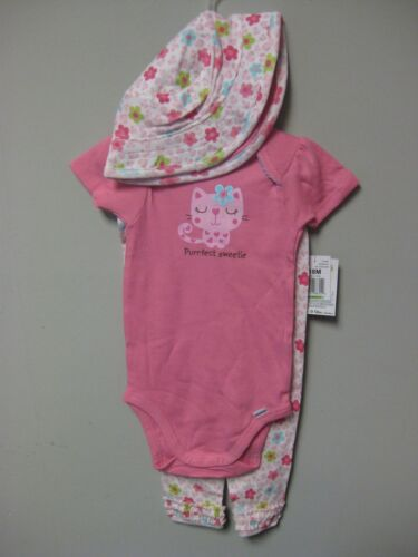 """Gerber Girls 3-Piece Pink Cat /""""Purrfect Sweetie/"""" Set 18M Or 24M BABY SHOWER GIFT"""