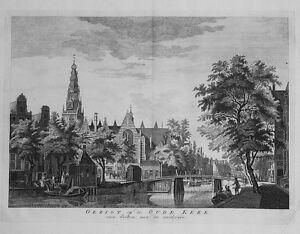 Antique-map-Gezigt-op-de-oude-kerk-van-buiten-aan-de-zuidzyde