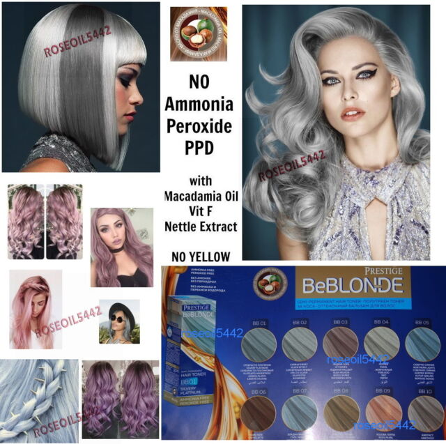 Haartönung SILBER GRAU SILVER-PLATIN ROSE PERLE Haarfarbe 100ml Ohne Ammoniak