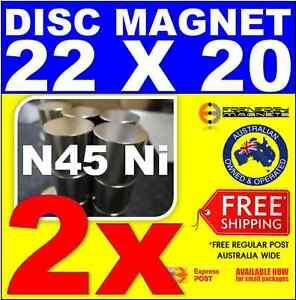 2X DISC Neodymium Rare Earth Magnets 22mm X 20mm N45