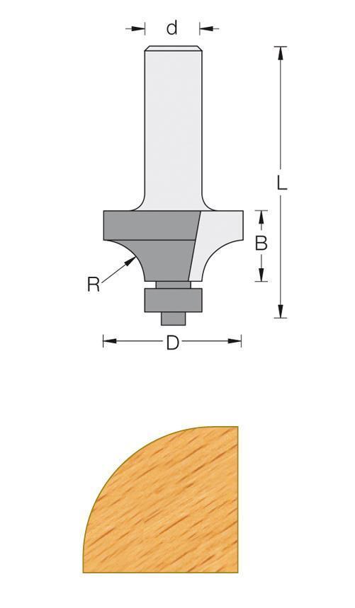 Fräse Carbid für Oberfräse Q8 - 1 4 Runde der 16 mm mit Führung