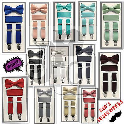 New Kid/'s Boy/'s Suspender elastic strap clip on/_bowtie /& hankie Black