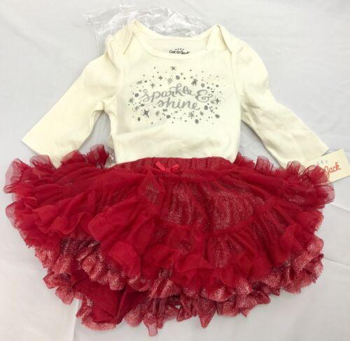 Baby Cat Jack Sparkle Shirt Red Tutu Ruffled Layered Skirt Newborn 3-6 Months