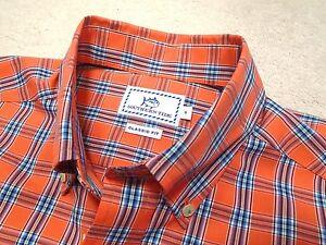 Southern-Tide-Cotton-Blend-Orange-Plaid-Skipjack-Sport-Shirt-NWT-Small-99-50
