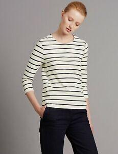 M-amp-s-autographe-blanc-bleu-marine-a-rayures-manches-3-4-Top-Tee-T-Shirt-Blouse-8-10-12-16-20