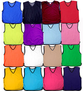 20-FOOTBALL-MESH-TRAINING-SPORTS-BIBS-Kids-Youth-and-Adult-amp-Boys-Sizes-QUALITY