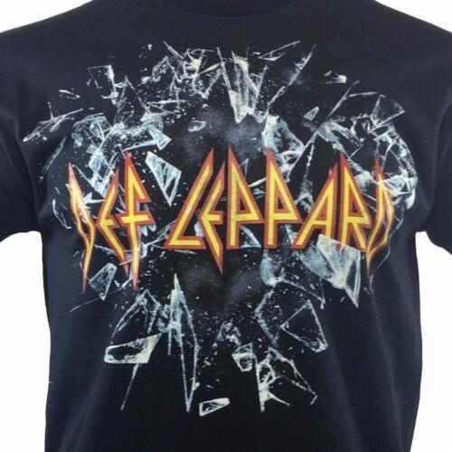 DEF LEPPARD Homme Tee T Shirt Vintage Rock Band Music Tour Noir S manche NEUF