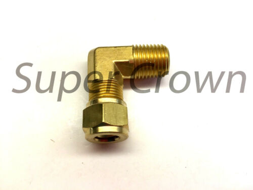 """Brass Compression 90° Elbow Connector 5//16/"""" ID x 1//4/"""" NPT Male Fitting Adapter"""