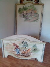 "Plenty's  Horn ""Bear Theme"" Custom Hand Painted Twin Bed"