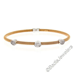 NEW-Italian-14K-Rose-Gold-6-5-034-Diamond-Spring-Cable-Bangle-Stackable-Bracelet