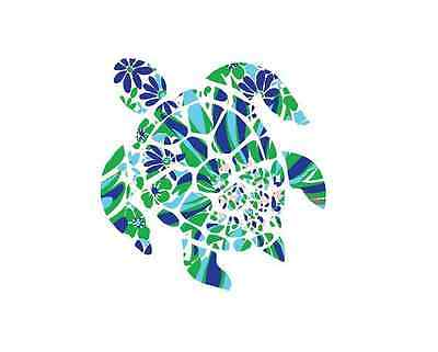 Sea Turtle in Psychedelic Pattern with Black Outline Decal for Car//Truck//Window