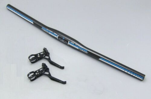 Carbon road MTB bike Flat 58 60 66 72 74 handlebar Stem Brake lever Grips Blue