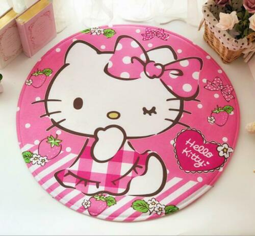 "Cute 24"" Bathroom Bedroom Hello Kitty Soft Round Doormat Mat Rug Pad Floor Mat"