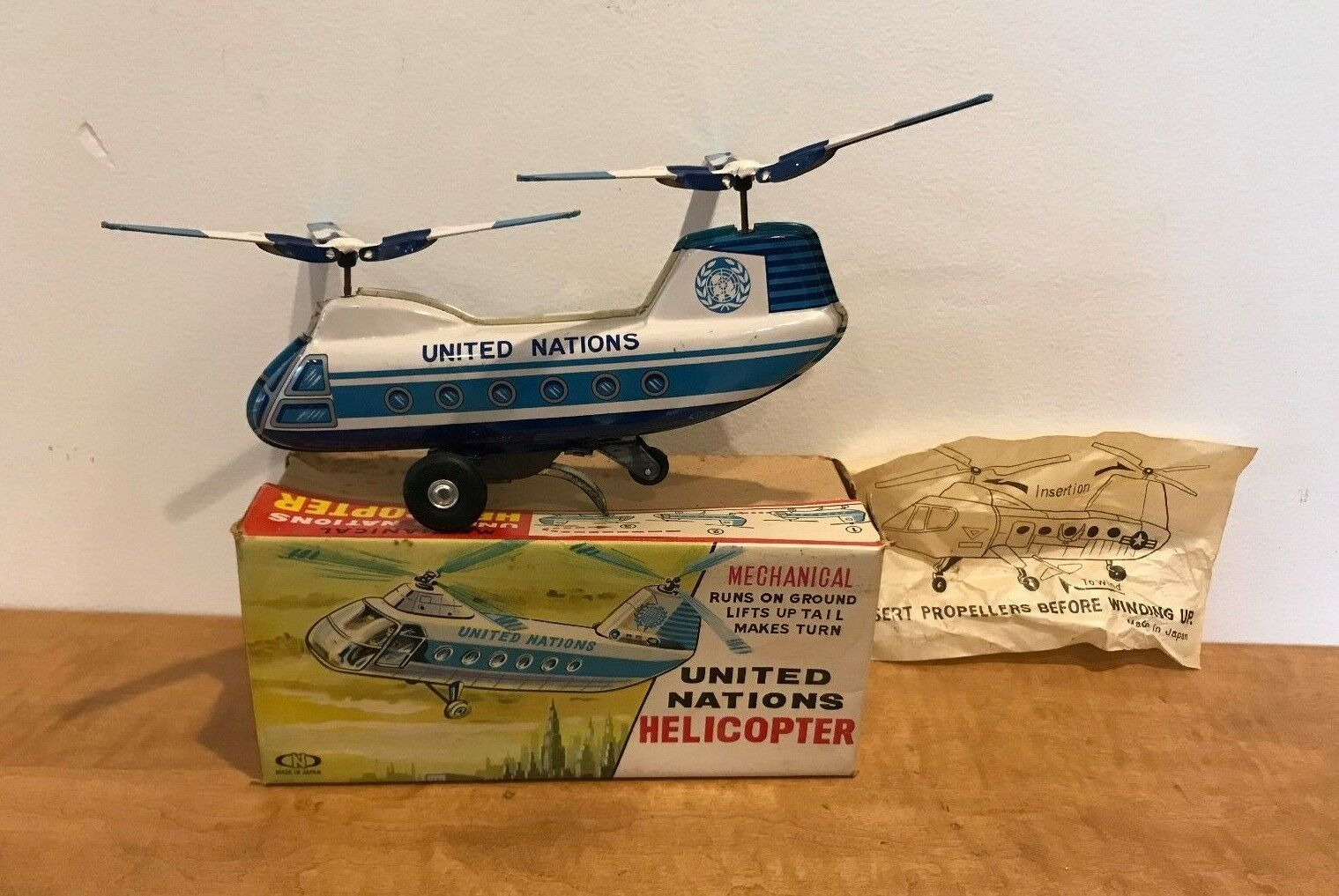 Vintage - Nomura United Nations Helicopter - Tin Litho Wind up - MIB - 19060s