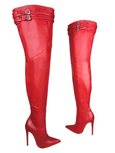 Rouge Heels Bottes Red Stiefel Couture Leather Cq Ceinture Boots Custom Overknee FvvqHw