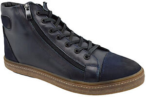 230-OVATTO-Blue-Calf-Leather-Ankle-Boots-Sneakers-Men-Shoes-NEW-COLLECTION