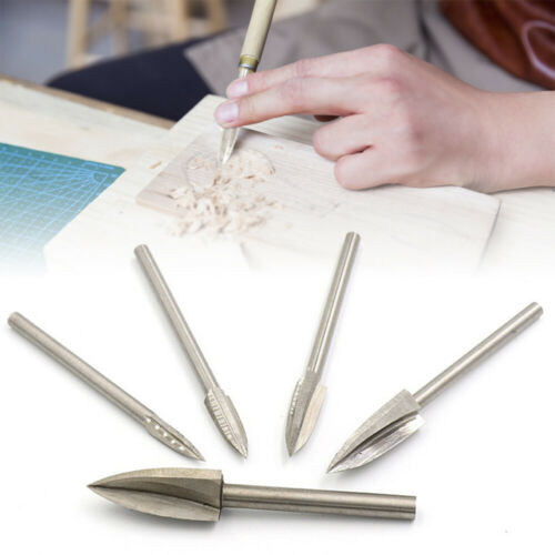 5Pcs Wood Carving Engraving Drill Bits Set Milling Cutter For Dremel Rotary Tool