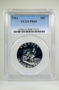 PR65-1963-PCGS-GRADED-FRANKLIN-90-SILVER-HALF-DOLLAR-50C-PROOF-COIN-LIBERTY-US