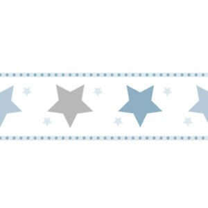 Tapetenborte Bordüre Sterne weiß blau 330495 Bimbaloo (16,38€/1qm)