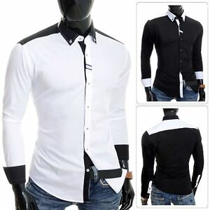 Cipo-amp-Baxx-Designer-Men-039-s-Elegant-Shirt-White-Black-Cotton-Slim-Contrast-Cuffs