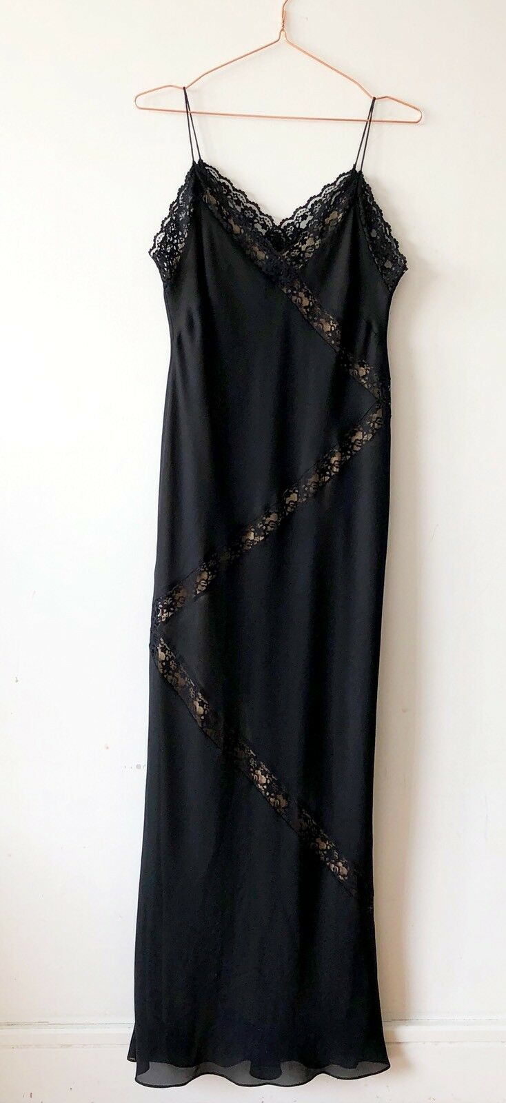 FRANK USHER Harrods schwarz Maxi Cami Strap Bodycon Lace Dress 10 Evening Sexy