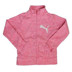 Puma Big Girls Fleece Full Zip Jacket Heater Multi Color Multi Size Pink Navy