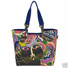 Laurel Burch Carlotta's Garden Feline Cats Large Shoulder Tote Canvas Bag NWT