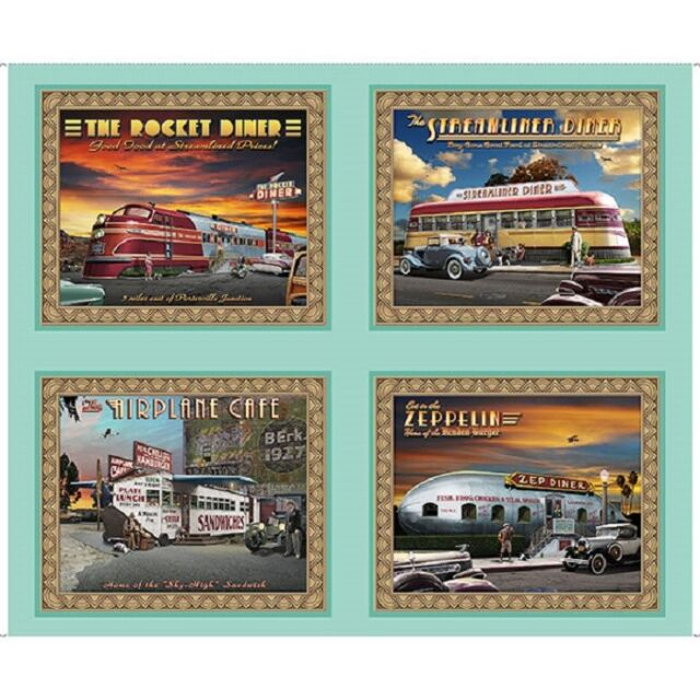 "Retro Diners Airplane Steamship Blimp Train 36x44/"" YARD Panel QT Cotton Fabric"
