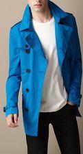 NWT BURBERRY RAIN KENSINGTON SHORT BLUE DOUBLE BREAST TRENCH COAT JACKET SZ XL