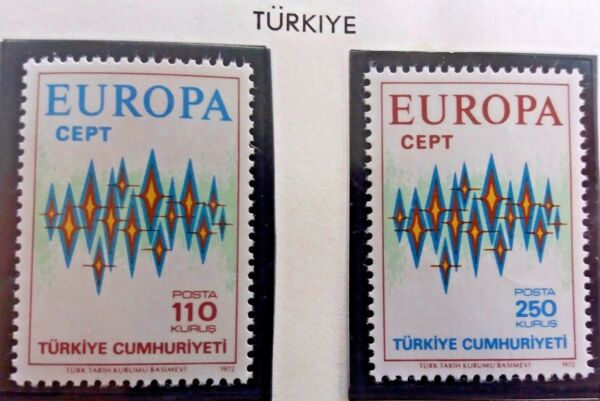 2 X Timbre Stamp Turquie 1972 Yt 2024 2025 Europa Cept Neufs Aurore Polaire