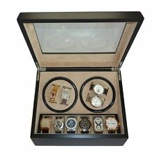 4 + 6 EBONY WALNUT WOOD WATCH WINDER STORAGE DISPLAY CASE BOX AUTOMATIC ROTATION