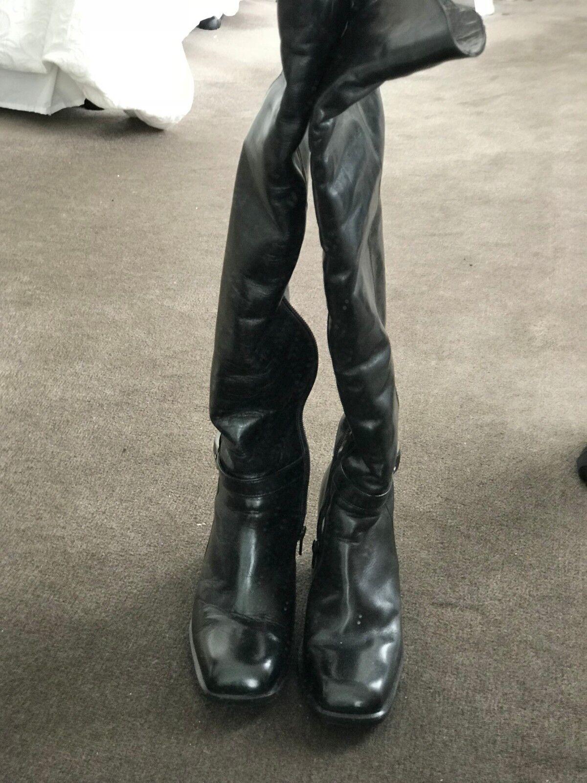 Diseñador italiano para mujer Negro Cuero Cuero Cuero Piel Forrado encima de la rodilla botas Nuevo  almacén al por mayor
