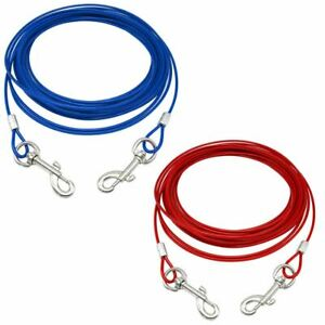 Pet Dog Puppy Garden Camping Outdoor Tie Out Lead Leash Extension Wire Cable
