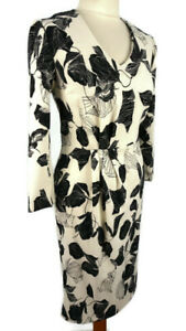 M-amp-S-Size-8-10-Ivory-Mix-Black-Midi-Floral-Leaf-Dress-V-Neck-Long-Sleeve-Party