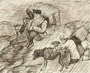 1866 Pen and Ink Drawing - The Shooting Party