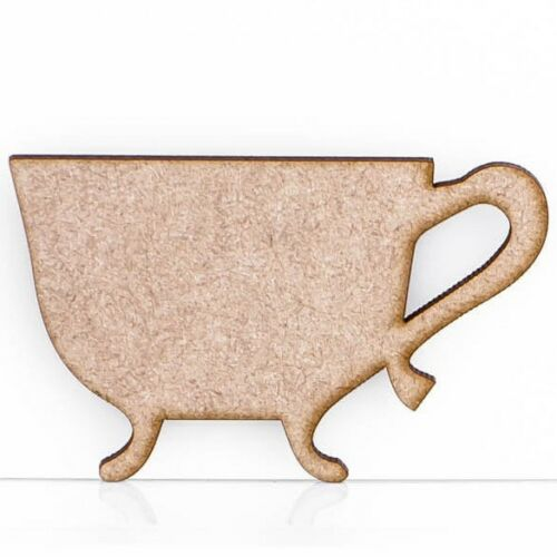 Wooden MDF Antique Teapot Teacup Craft Shape Embellishment Sign Blank 3mm Thick