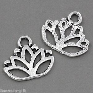 50PCs-Gift-Charm-Pendants-Lotus-Flower-Silver-Tone-17mmx14mm-GB