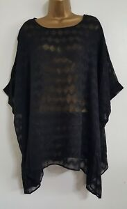 NEW-Plus-Size-16-24-Black-Lace-Batwing-Sleeves-Geometric-Tunic-Top-Blouse